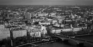 London. Black and white London panorama over the river Thames Royalty Free Stock Images