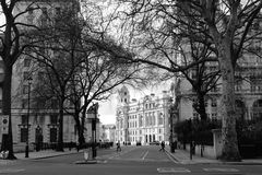 London. Black and white street in London royalty free stock image