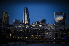 London Blackfriars seen from across the Thames as night falls Stock Photos