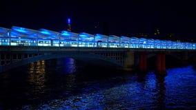 London Blackfriars Station over River Thames at night - LONDON, ENGLAND - DECEMBER 11, 2019
