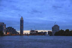 London blue sunset view with the St George Wharf Tower Stock Photo