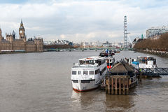 London, boats on Thames river Stock Image
