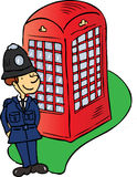 London Bobby. A cartoon vector illustration of a London policeman standing in front of a traditional red telephone box Stock Images