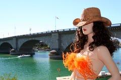 London-Brücken-Cowgirl Stockbilder