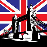 London Bridge. Vector image of British and london symbols. Famous London Bridge on the background of the British flag Stock Photos