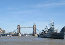 London Bridge. The old bridge and boat military Stock Photos