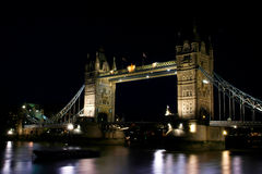 Tower Bridge. A night view of the Tower Bridge seen from the City Hall in London Royalty Free Stock Photo