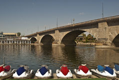 London Bridge. This is a picture of the London Bridge at Lake Havasu, Arizona.  This bridge was imported from London piece by piece Stock Images