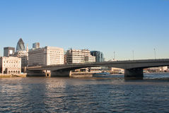 The London Bridge with the City in the backgrou Stock Photography