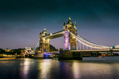 London Bridge. At dusk in the UK stock photography