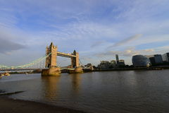 London Bridge, financial buildings and Thames river. Beautiful panorama of London's skyline with London bridge and London Tower over the Thames river stock image