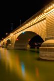 London Bridge in Lake Havasu. A bridge (from London) was brought over and built in Lake Havasu City, Arizona. Photographed at night underneath the bridge royalty free stock photos