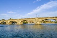 London Bridge in Lake Havasu, old historic bridge rebuilt with o stock photos