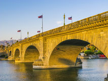 London Bridge in Lake Havasu, old. Historic bridge rebuilt with original stones in America Royalty Free Stock Photo