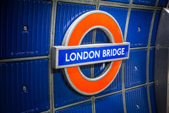 London Bridge metro station sign Stock Photography