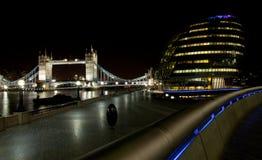 London Bridge at night. London Bridge and city hall at night with plenty of lights Royalty Free Stock Photo