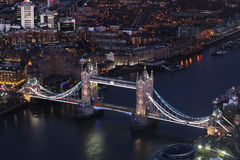 London bridge at night aerial view, close up Royalty Free Stock Photo