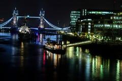 London bridge at night. Shot from the bridge Stock Photos