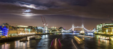 London Bridge at night. Tower Bridge  is a combined bascule and suspension bridge in London, England which crosses the River Thames Royalty Free Stock Photography