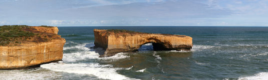 London bridge and ocean panorama view. London bridge and great ocean road Royalty Free Stock Photography