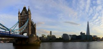 London Bridge over Thames river panorama Stock Image