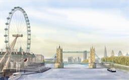 London  Bridge. Painting style illustration of London  Bridge Royalty Free Stock Photo