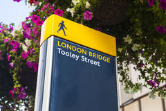 London Bridge Pedestrian Sign in London Royalty Free Stock Photography