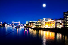 London Bridge and River Thames by night Royalty Free Stock Photography