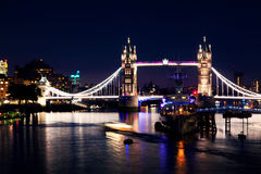 London Bridge and River Thames by night Royalty Free Stock Image