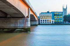 London Bridge and Riverside Office Buildings Royalty Free Stock Photos