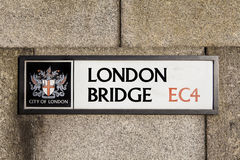 London Bridge Road Sign in London Stock Photography