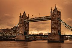 London Bridge Sand Storm Skies royalty free stock images