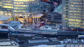 London bridge train station, aerial view at dusk, GB. LONDON, UK - September 20, 2015: London bridge train station, aerial view at dusk stock video