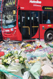 London Bridge tribute to terrorist victims. London, UK - 7 June 2017: Floral tributes laid on London Bridge as a memorial to the victims of the terrorist attack Stock Photos