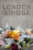 London Bridge tribute to terrorist victims. London, UK - 7 June 2017: Floral tributes laid on London Bridge as a memorial to the victims of the terrorist attack Stock Images
