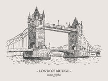 London bridge vector vintage illustration Royalty Free Stock Image