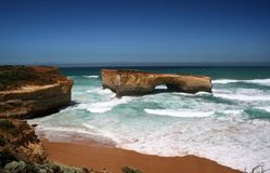 London Bridge, Victoria, Australia. The remaining arch of London Bridge, Great Ocean Road, Victoria, Australia, on a clear bright summer day stock photo
