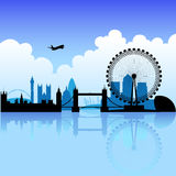 London on a bright day. London skyline silhouette on a bright partly cloudy day vector illustration