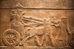 London. British museum. Hunting relief from Palace of Assurbanipal in Nineveh, Assyria Royalty Free Stock Photo