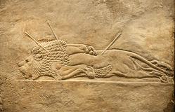 London. British museum. Hunting relief from Palace of Assurbanipal in Nineveh, Assyria Stock Photo