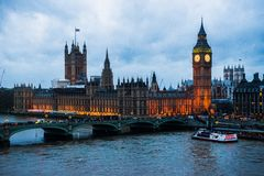 London. The British Parliament winter night Stock Photos