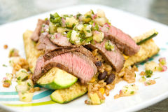 London Broil Steak with Pineapple Salsa Royalty Free Stock Photo