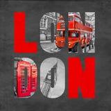 London-Buchstaben mit Bildern auf strukturiertem schwarzem Hintergrund Lizenzfreie Stockbilder