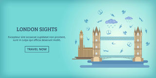 London buildings banner horizontal, cartoon style Royalty Free Stock Images