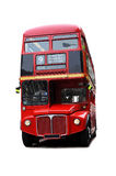 London Bus. A bright red traditional London bus isolated over white royalty free stock photography