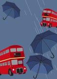 London Bus And Umbrellas Royalty Free Stock Photo