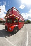 London bus in Belluno, during the Beatles days Stock Photos