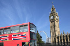 London British red double decker bus Big Ben Stock Photos