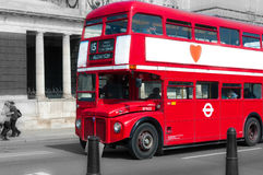 London Bus on black and white background Royalty Free Stock Photography