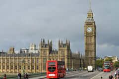 London bus crossing Westminster Bridge Stock Photography
